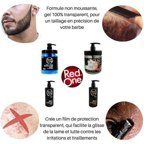 gel de rasage red one transparent pour barbe